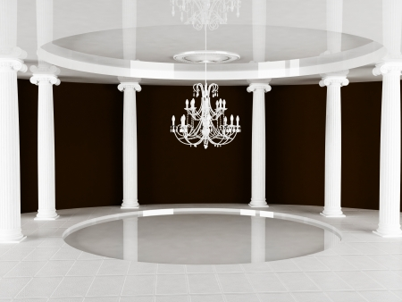 baroque room: columns and a chandelier in empty room Stock Photo