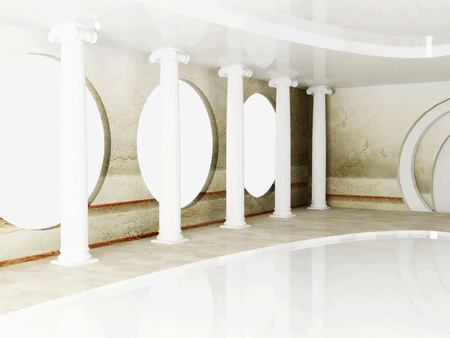 Interior design scene with columns in empty room photo