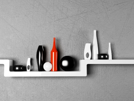 creative shelf with the vases, rendering