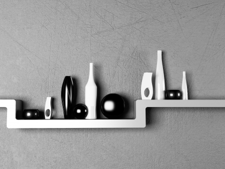 creative shelf with the vases, rendering photo