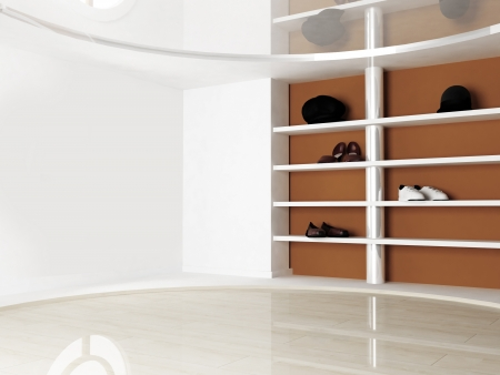 Inter scene with the shelves for shoes and hats Stock Photo - 15305498