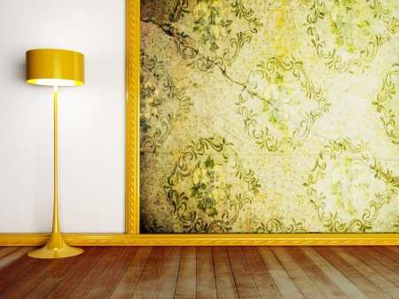 floor golden lamp in the room Stock Photo - 15306052