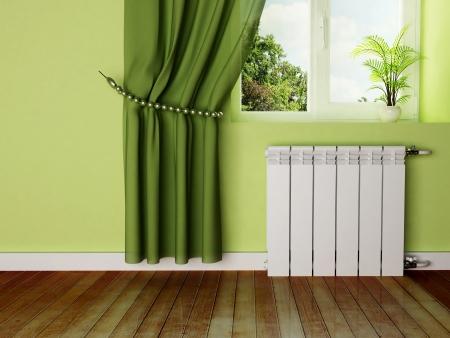 radiador: escena del dise�o interior con un radiador y una ventana