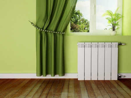 interior design scene with a radiator and a window photo