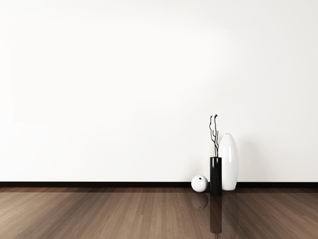 three vases on the floor, rendering