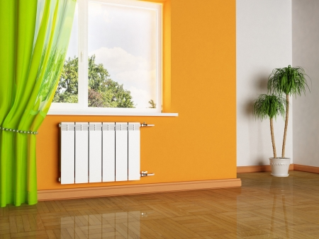 interior design scene with a radiator and a window Stock Photo - 15305738