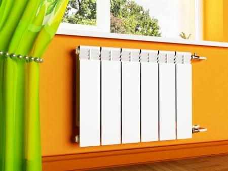 radiador: escena del diseño interior con un radiador y una ventana