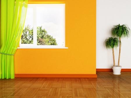 interior design scene with a plant and the window Standard-Bild