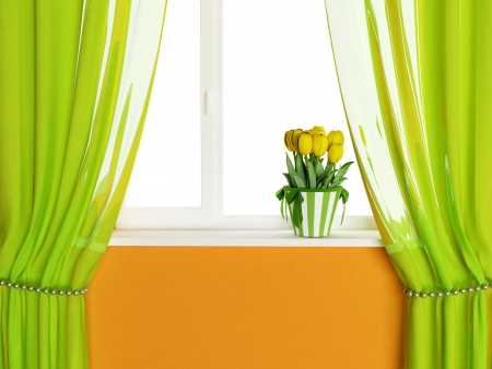 beautiful bouquet with tulips on the window Stock Photo - 15305511