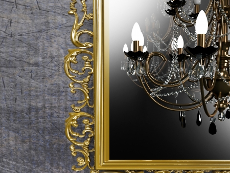 vintage chandelier on creative background photo