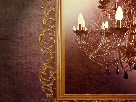 vintage chandelier on creative background