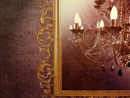 chandelier background:  vintage chandelier on creative background