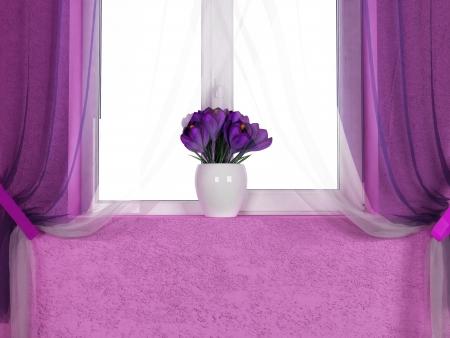 violet residential: beautiful crocuses on the windowsill