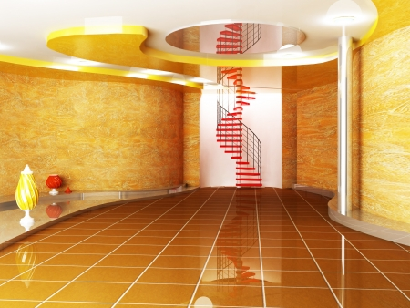 fluency: creative room in warm colors with the vases and the stairway