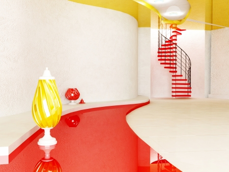 metall lamp: creative room with the vases and the stairway Stock Photo