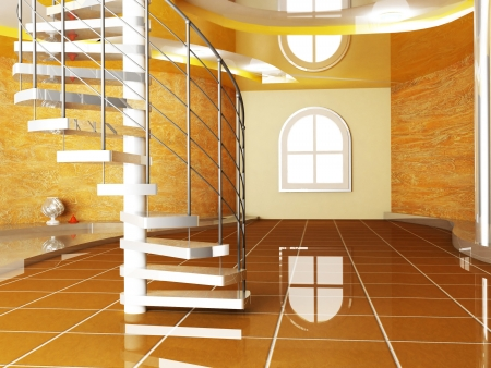 Interior design scene with  a window and a stairs photo