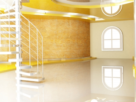 Interior design scene with  a window and a stairs Stock Photo - 15305836