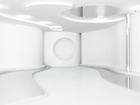 fluency: empty interior in white color, minimalism