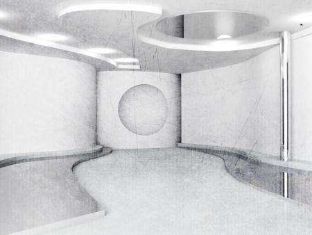 fluency: empty interior in white color, minimalism, sketch