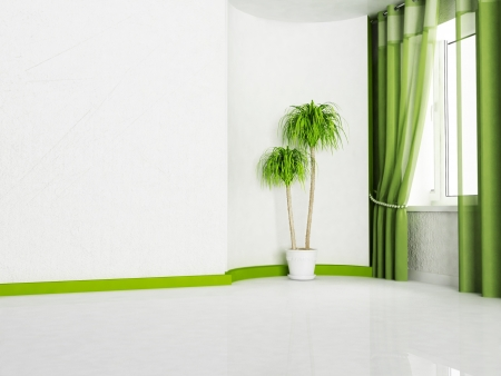 Interior design scene with  a window and a plant Stock Photo