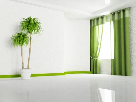 Interior design scene with  a window and a plant photo