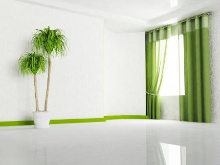 Interior design scene with  a window and a plant Archivio Fotografico