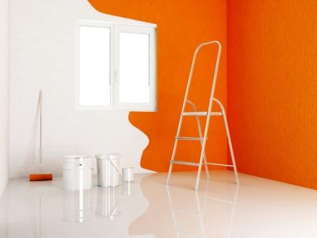 paint bucket: repairing works in the room, rendering