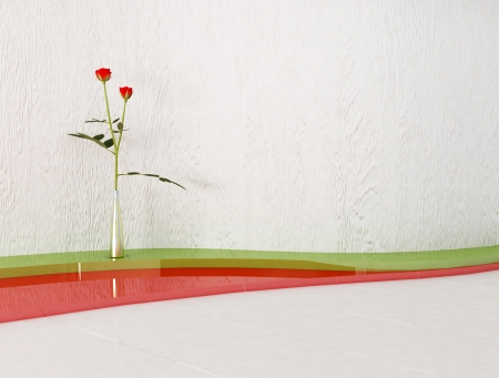 Interior design scene with a roses, rendering photo