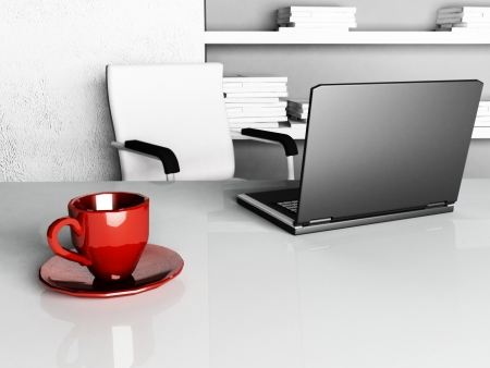 red cup on the desktop, rendering photo