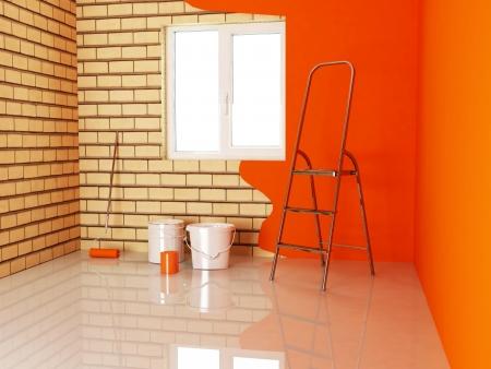 repairing works in the room, rendering