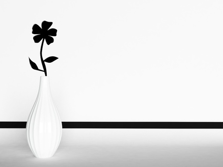 flower carved on the wall, a white vase photo