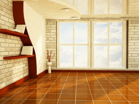 a nice room with a big window, rendering