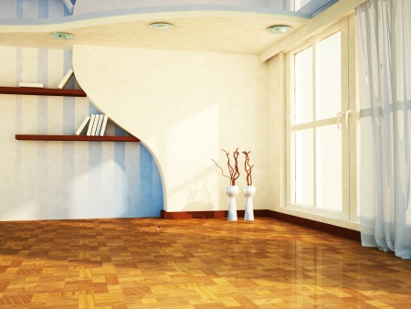 a nice room with a big window, the vases, shelves, rendering