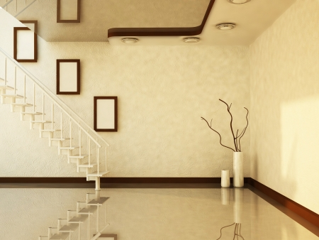 3d interior picture: stairs and the vases in the room, rendering