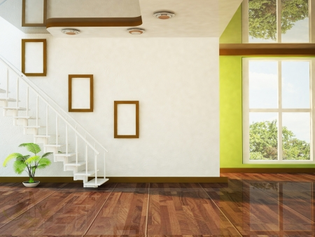 a nice room with a big window and the stairs Standard-Bild