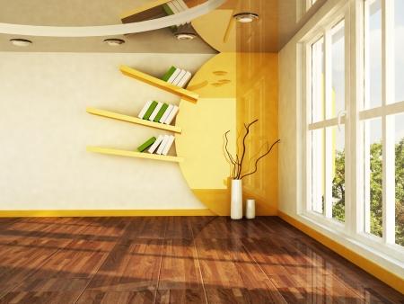 interior design scene with a big window and creative shelf