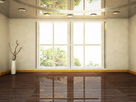 empty space: interior design scene with a big window and a vase