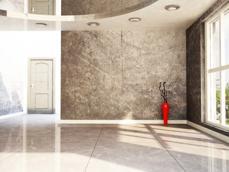 a red vase in the empty room, rendering photo
