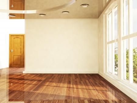 empty room with a window and a door Standard-Bild