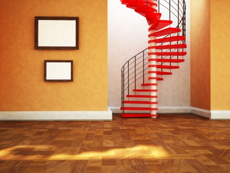 beautiful spiral staircase in the room , rendering photo