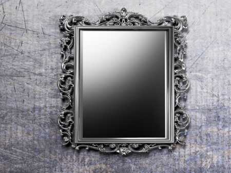 mirror on wall: retro antique mirror on the wall, rendering