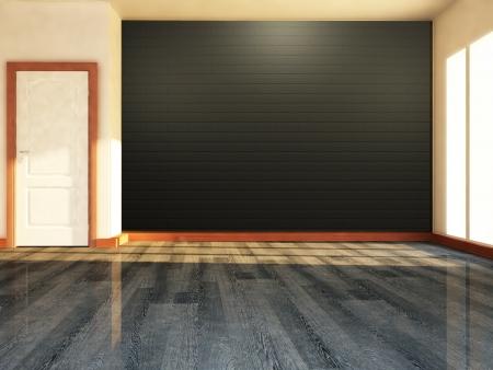 room door: empty room with a window and a door Stock Photo