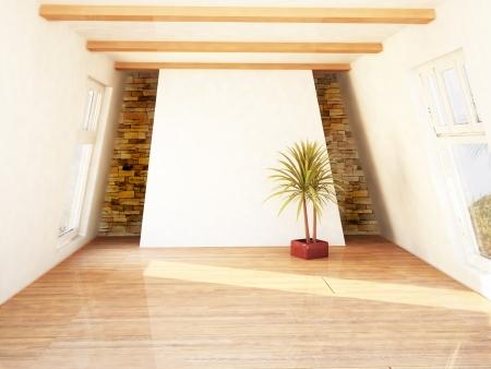 Beautiful attic room with two windows Zdjęcie Seryjne - 16183426