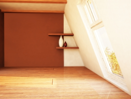 attic: a room with the window and two shelves on the wall Stock Photo