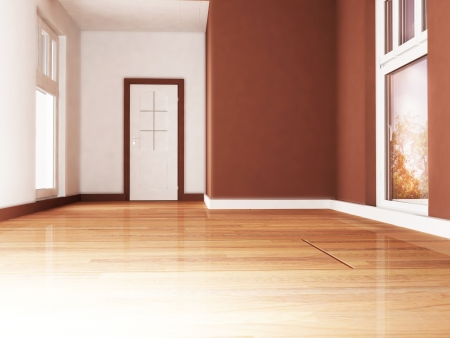 parquet: empty room with the windows and a door