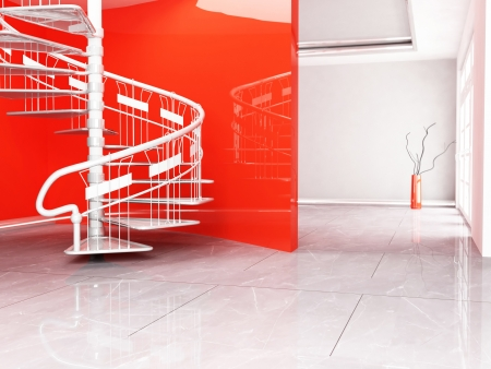 beautiful spiral staircase in the room, rendering photo