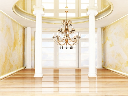 columns and a chandelier in empty room photo