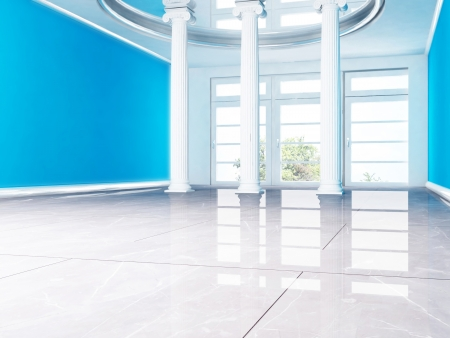 floor tiles: columns and a window in empty room Stock Photo