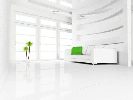 domestic scene: green plant and a sofa in the empty room