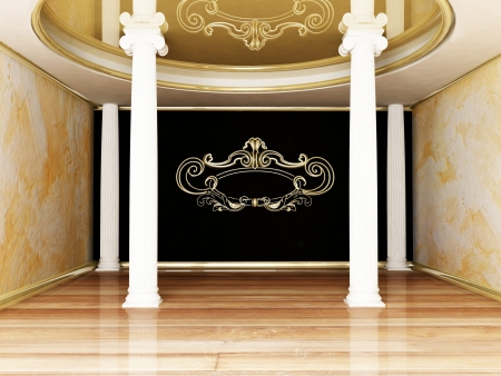 baroque room: beautiful room with the columns, rendering
